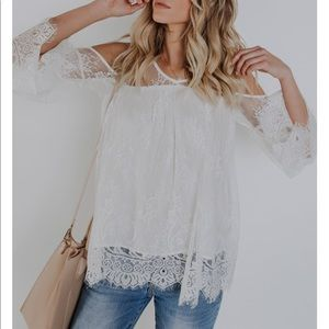 Tops - White lace cold shoulder top from VICI